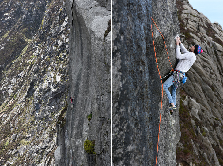 left: James McHaffie on the granite sweep of The Great Escape's middle pitch. right: Ryan Pasquill figuring out the sting in the tail pitch. © Ray Wood