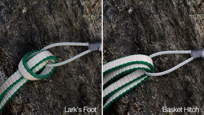 Lark's foot and basket hitch