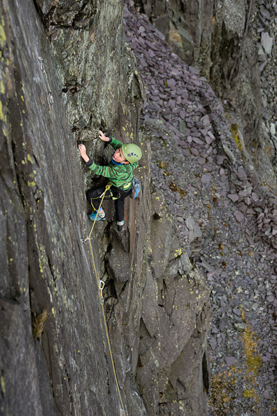 Celt Lloyd-Jones on the first ascent of Celtic Blood F6a. © Ray Wood