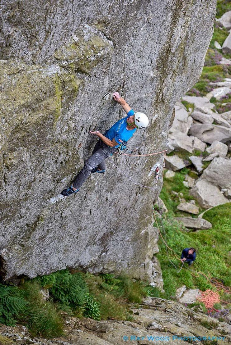 Gribin Wall Climb (E9 6c), Clogwyn y Tarw, Ogwen. © Ray Wood