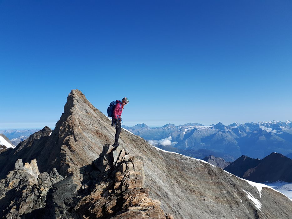 Anna on the Lenspitze Nadelhorn traverse © Neil Adams