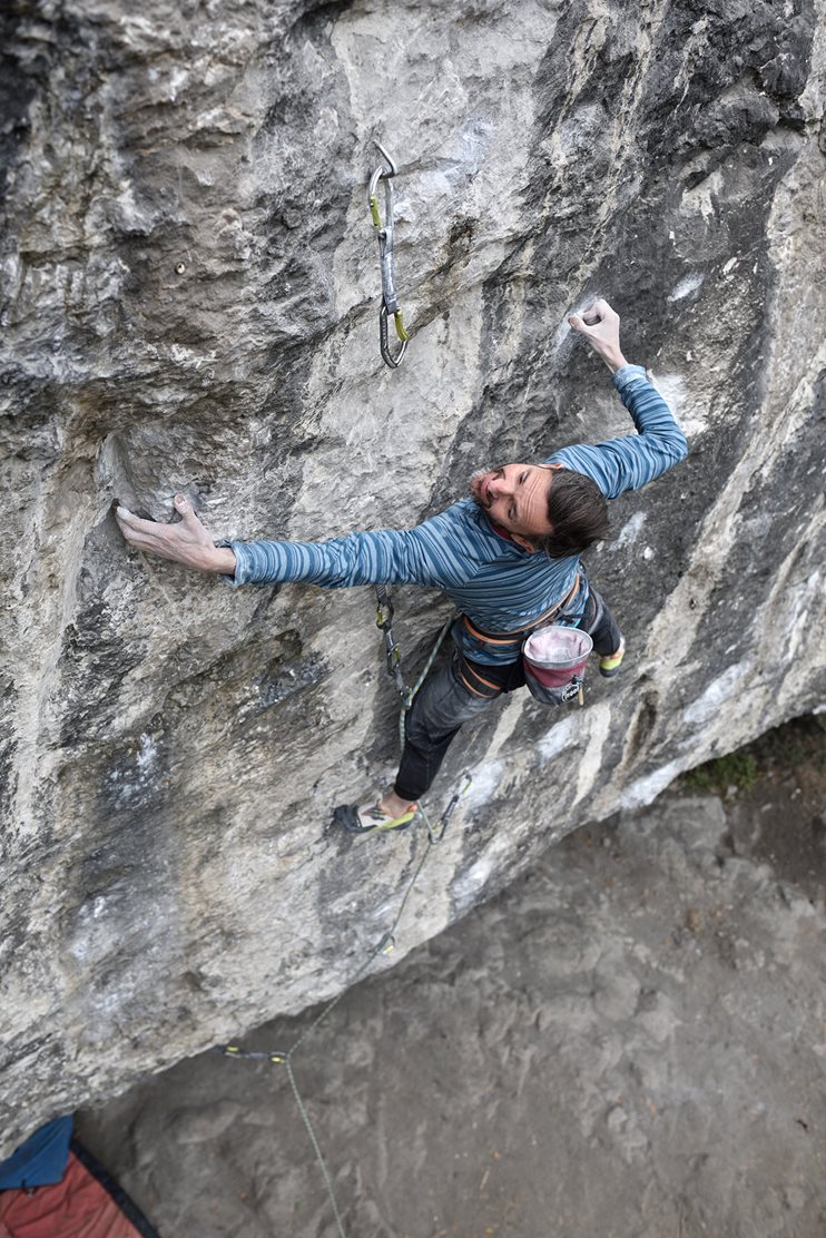Ben on Evilution (8c+) at Raven Tor © Ray Wood