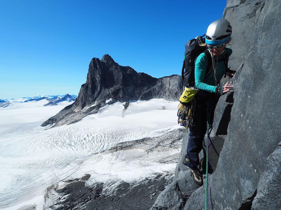 Brette climbing her new route Shaa Téix'i on the Devil's Paw, Alaska