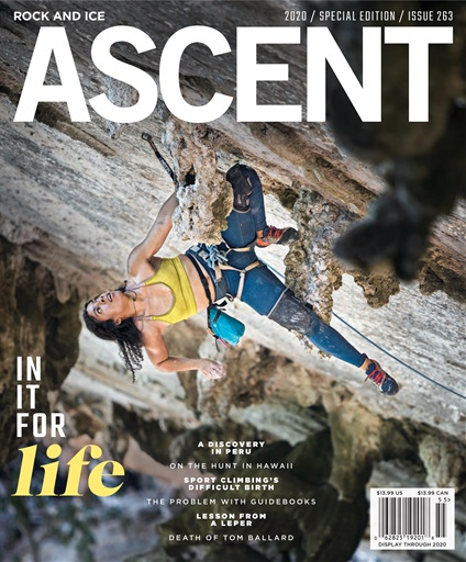 Genevive made the front cover of Rock and Ice's 2020 edition of Ascent. In the photo, taken by Chris Beauchamp, Genevive cops a rest on Quiquiriqui (5.11d) at Techo Del Mundo in Cuba.