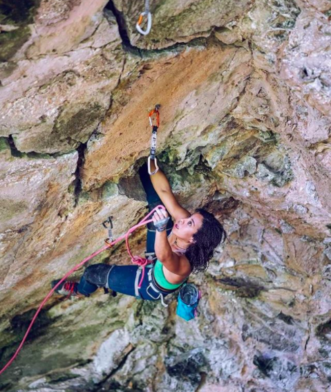 Genevive showing off her foot-and-hand-jam skills on another newly developed route at Techo Del Mundo, Cuba, graded 5.12b (7b) © D Scott Clark