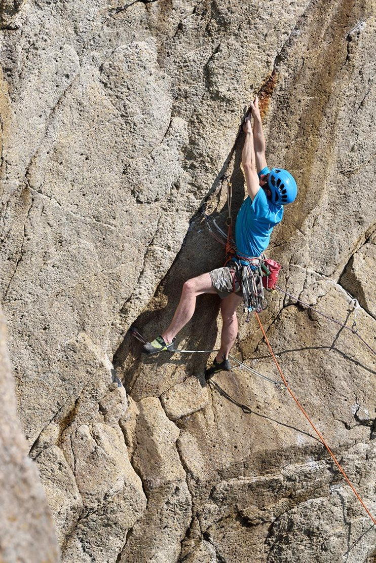 The crack section shared with Brinkman's Ship during McHaffie's first ascent of Ulterior (E7 6c), Lundy Island. © Ray Wood The crack section shared with Brinkman's Ship during McHaffie's first ascent