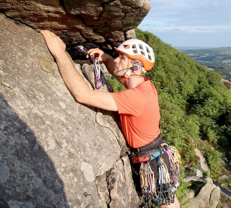 Jesse mic'd up and setting off up Gargoyle Flake (VS 4c), Bamford Edge © Lorne Campbell