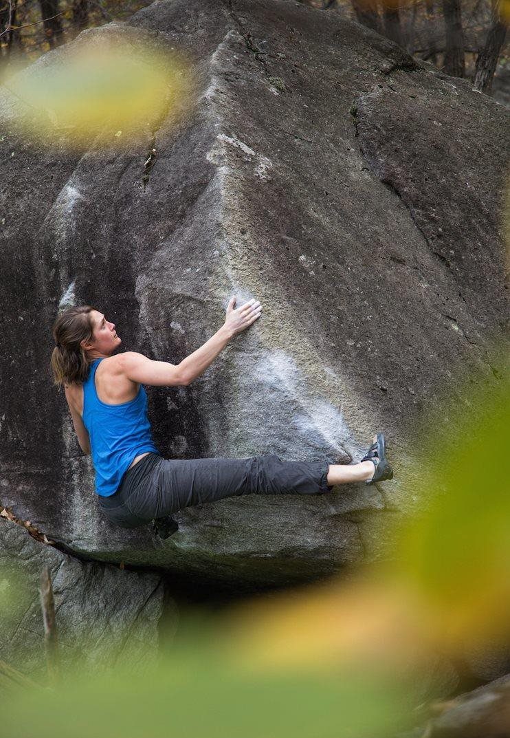 Katy climbing in Chironico © Alex Haslehurst