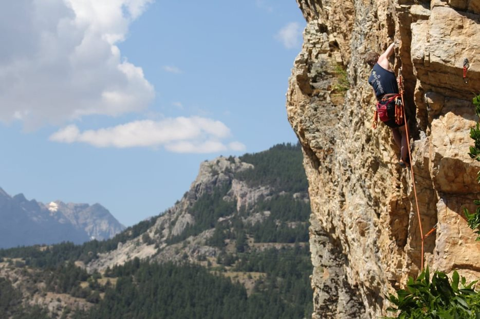 Matthew climbing in Briançon, France. © Gary Phillips
