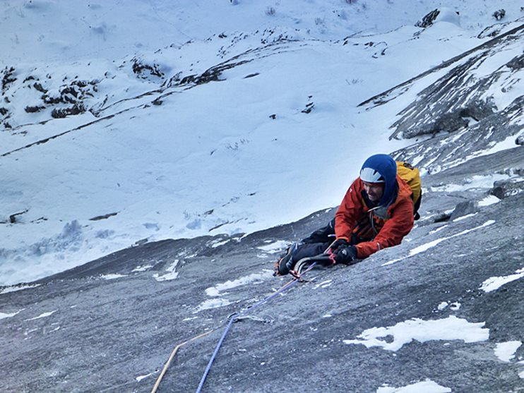 Nick Bullock following the exceptionally technical second slab pitch of Man Yoga, Stanley Headwall. © Greg Boswell