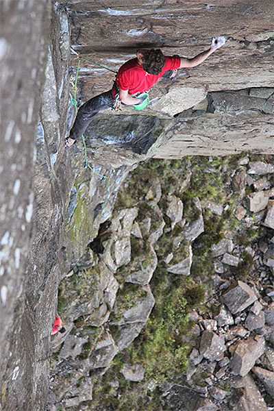Ricky on the first ascent of an Empty Book E7/8 6b, Fairhead