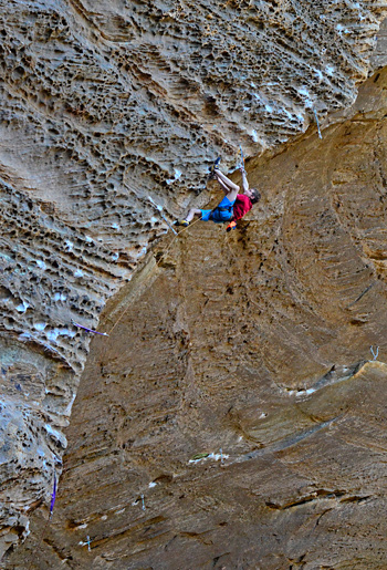 Jonathan Hörst, aged 12, sending Kaleidoscope (5.13c), Red River Gorge, KY. © Eric Hörst