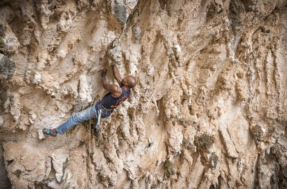 Trevor Massiah climbing