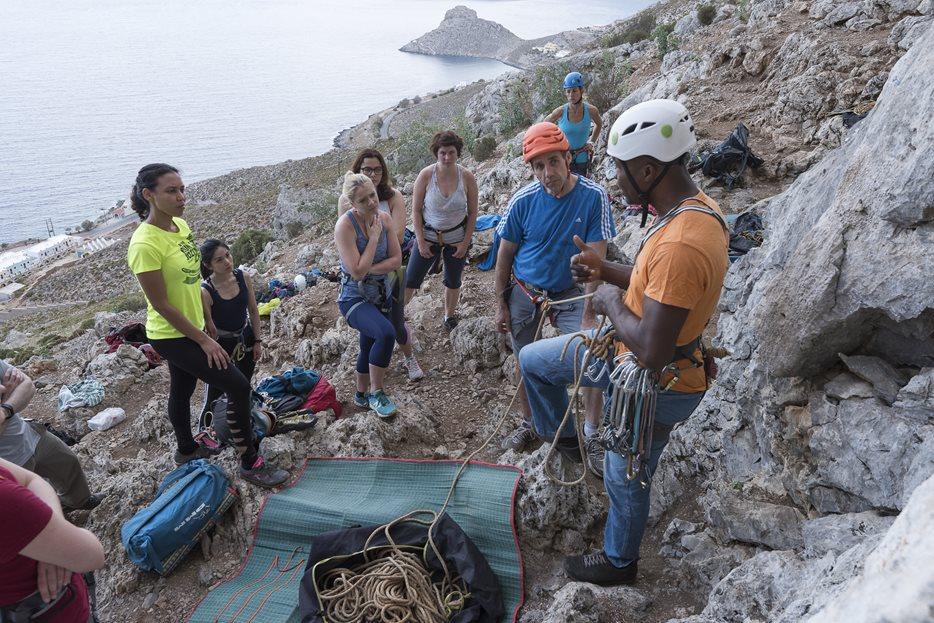 Trev coaching a group climbers.