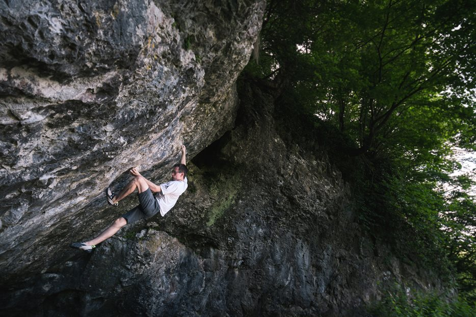 Will on Bewiderment (8B+) at Badger Cove, Deep Dale, Derbyshire. © Matt Bird