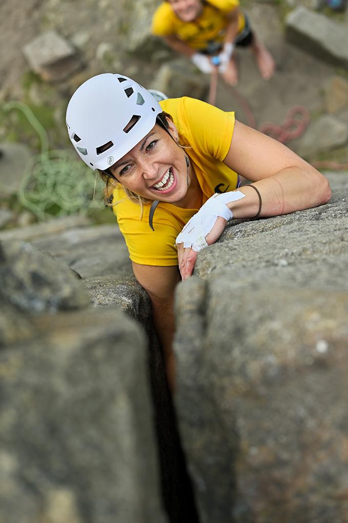 Gemma Louise Davies enjoying DMM's crack climbing clinic. © Ray Wood