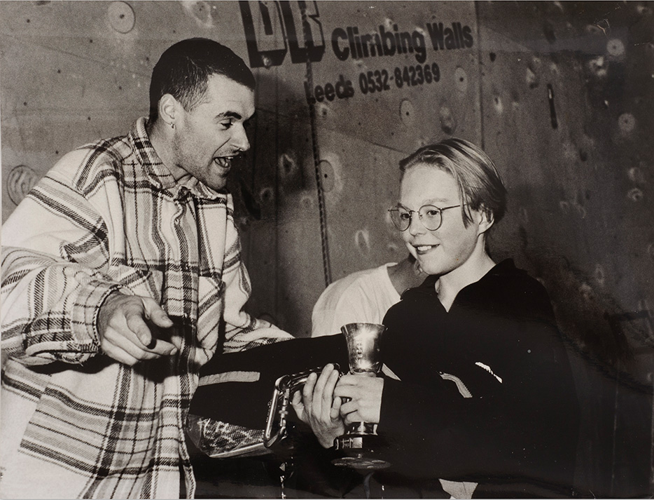 Ben Bransby being handed his winning trophy by Jerry Moffatt at the Foundry in the 1992 British Junior National Series.
