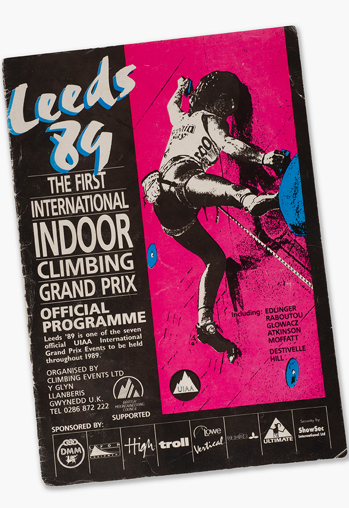 Programme for the first ever World Cup climbing competition.