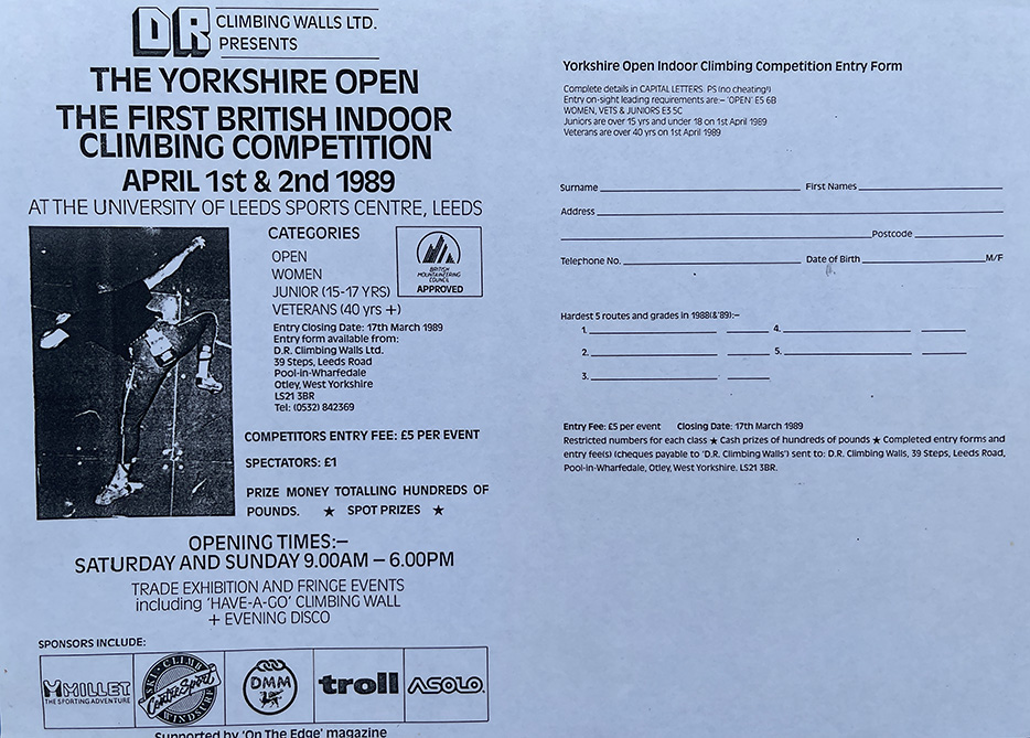 Entry form for the first ever British indoor climbing competition.