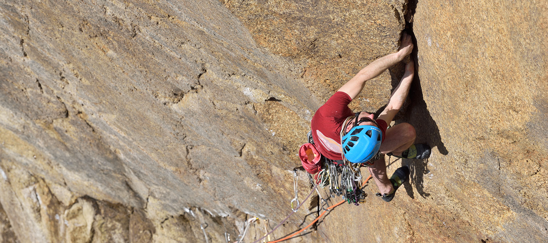 McHaffie treading carefully on the initial flake crack of Controlled Burning (E6/7); dramatically different from when it was first climbed. © Ray Wood