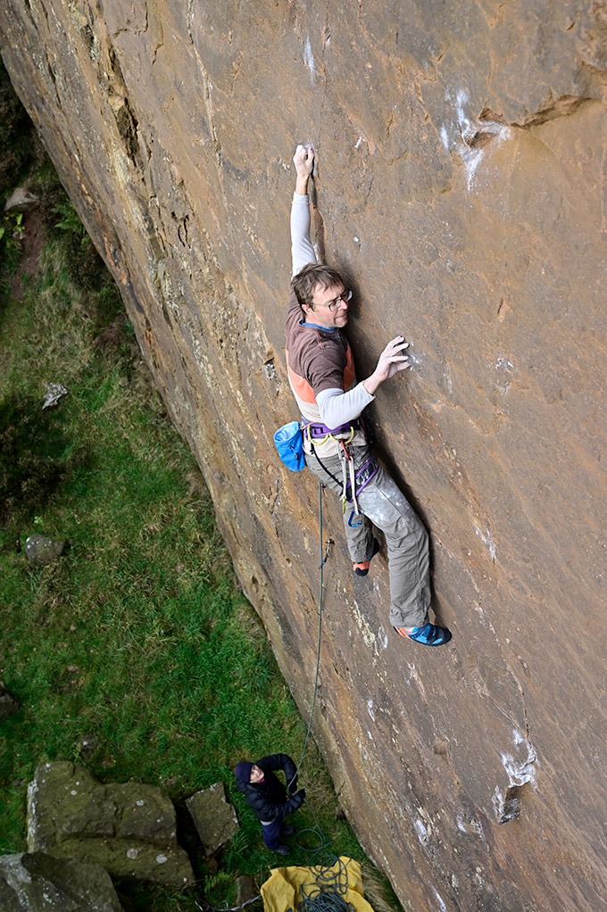 Ben on the crux lower wall from an earlier attempt. © Ray Wood
