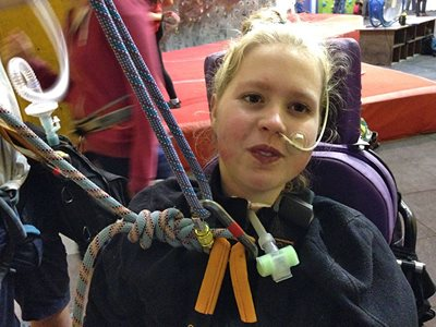 Clare Hands in July 2014 just after climbing for the first time without her ventilator attached.