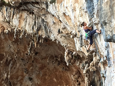 Lucy Creamer on Trella in the Grande Grotta during a recent trip to Kalymnos.