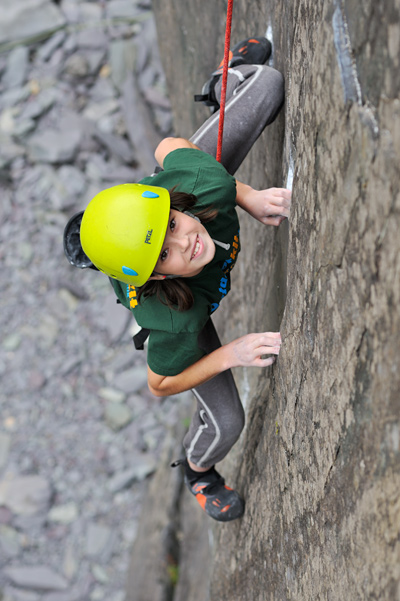 Emily Phillips making big moves between small holds on Beltane (7b+) © Ray Wood
