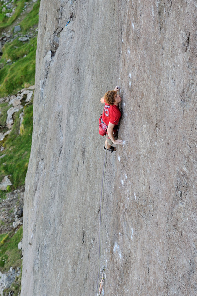 Calum Muskett on the crux of The Indian Face a long way above the 'nest' of psychologically reassuring RPs. © Ray Wood