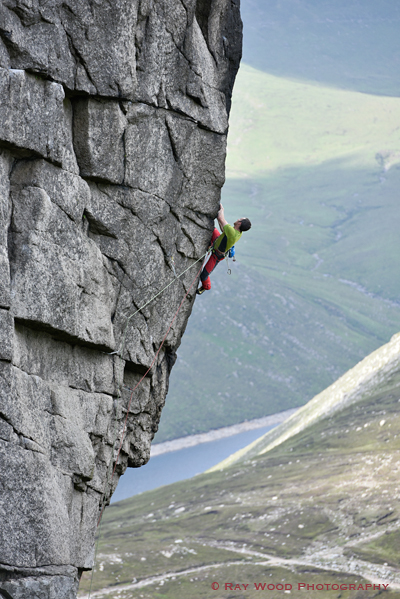 James McHaffie on the second ascent of The Peace Line (E8 6c).