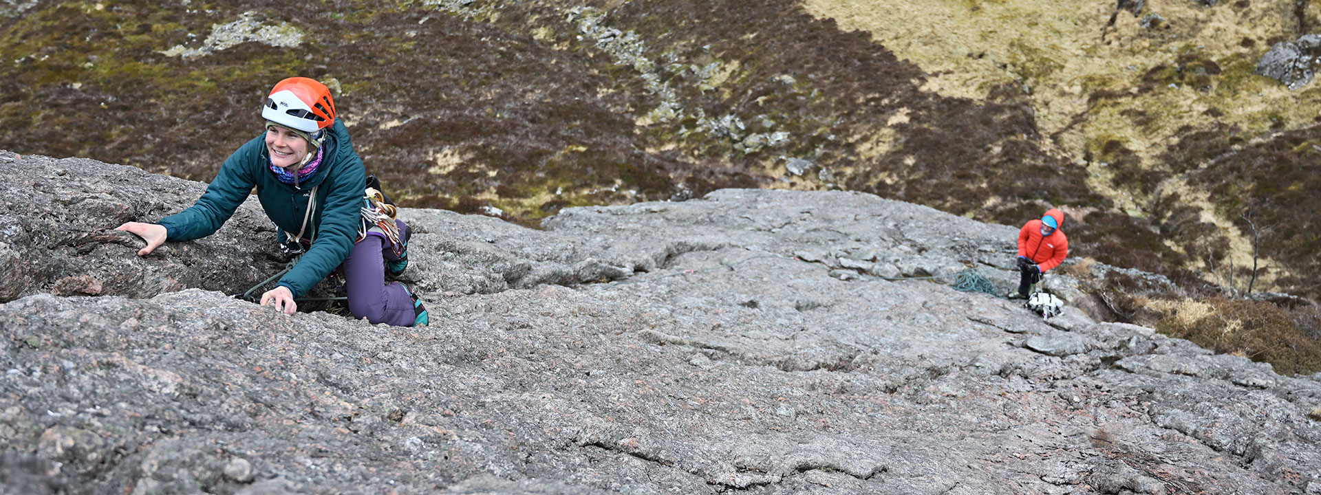 The epitome of a classic rock route, Adverikie Wall (HS), Binnein Shaus. Emma Williams on the well-protected third pitch.